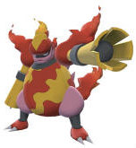 "Magmortar evolves from a Magmar holding the item ""Magmorizer"" when It has been traded in Nintendo DS Pokemon Diamond Pearl DP"