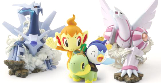 "LIMITED EDITION Pokemon Diamond Pearl Figure! ""Dialkia"", Pocchama & Naetle & Hikozaru Collection, ""Palkia"" Figures"